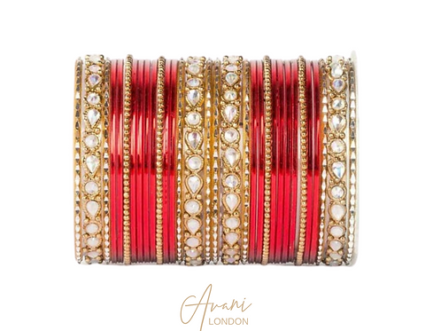 Metallic Kundan Bangles - Bridal Red