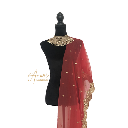 Net Dupatta with Floral Motif Sequins - Red