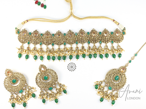Naina Polki Necklace Set - Emerald