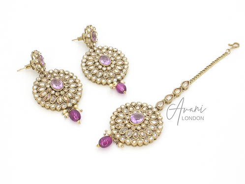 Siya Earring and Tikka Set - Lilac