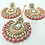 Thumbnail: Kundan Chandbali Earring and Tikka Set -Peach/Pink