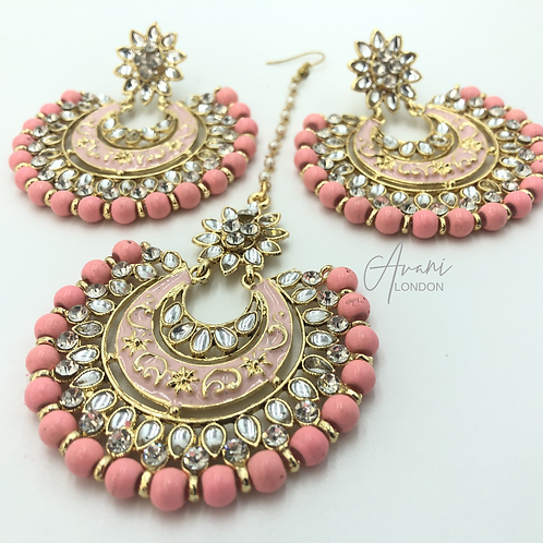 Kundan Chandbali Earring and Tikka Set -Peach/Pink