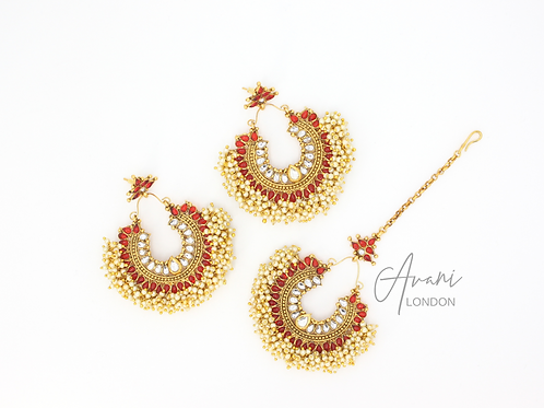 Pia Earring and Tikka Set - Ruby