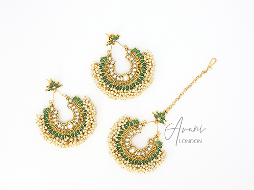 Pia Earring and Tikka Set - Emerald