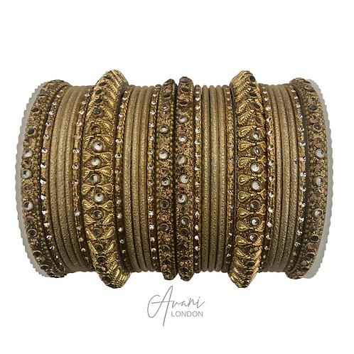 Antique Accent Bangle Sets - Gold