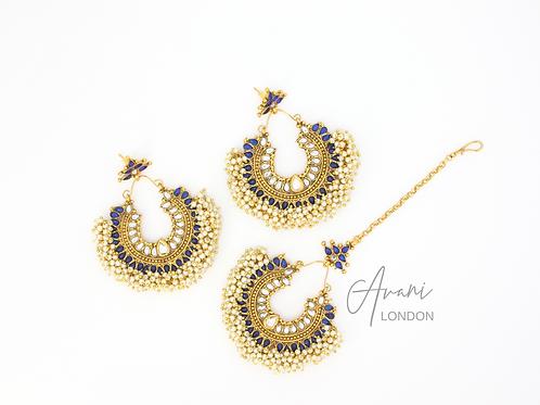 Pia Earring and Tikka Set - Sapphire