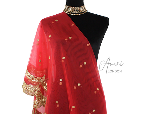 Soft Net Dupatta - Bridal Red