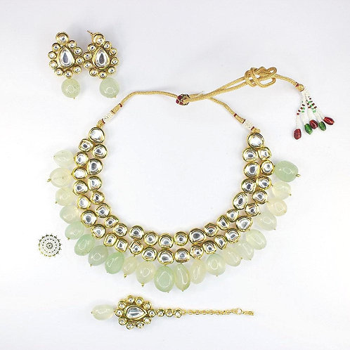 Mahi Kundan Necklace Set - Mint