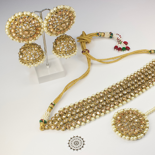 Aanya Pearl Choker Set with Jhumka Earrings
