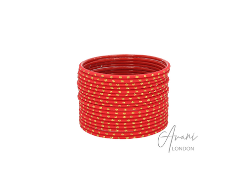 Metal Matte Glitter Bangle Stack (36 Bangles) - Red