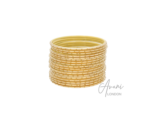 Metal Glitter Bangle Stack (36 Bangles) - Gold