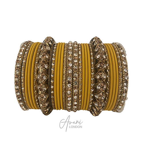 Antique Accent Bangle Sets - Yellow