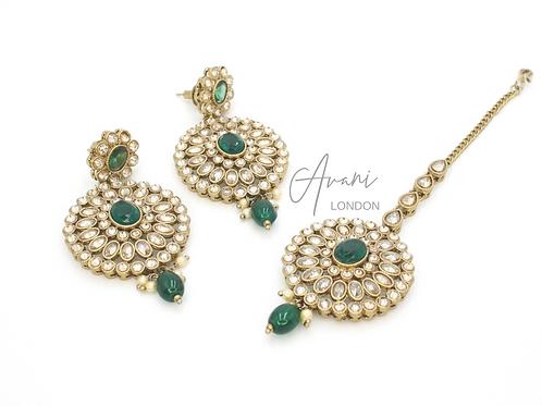 Siya Earring and Tikka Set - Emerald