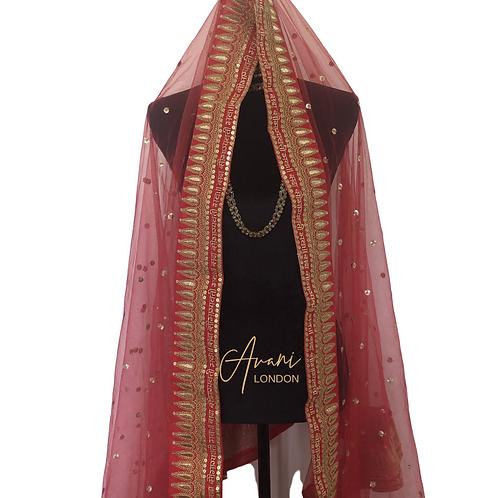 Deepika Padukone Inspired Bridal Dupatta - Red