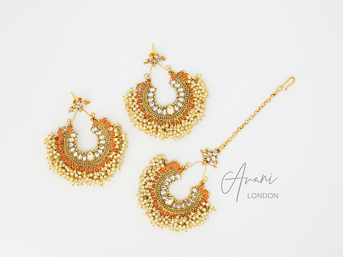 Pia Earring and Tikka Set - Marigold
