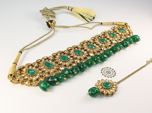 Arya Choker Set - Emerald