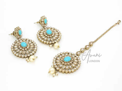 Earring and Tikka Set - Aqua