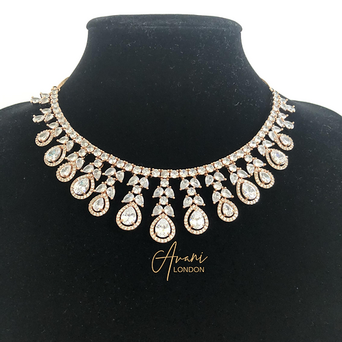 Kalai Cubic Zirconia Necklace and Earring Set - Rose Gold with Clear Stones