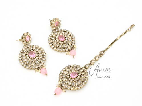 Siya Earring and Tikka Set - Baby Pink