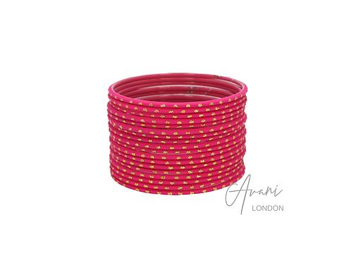 Metal Glitter Bangle Stack (36 Bangles) - Pink