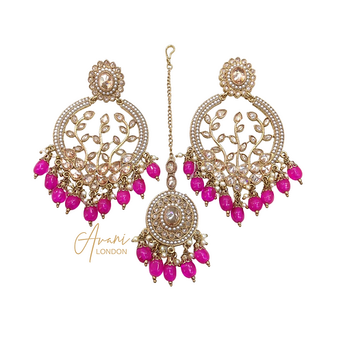 Nia Vine Motif Earring and Tikka Set - Pink
