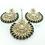 Thumbnail: Kundan Chandbali Earring and Tikka Set - Green/Grey