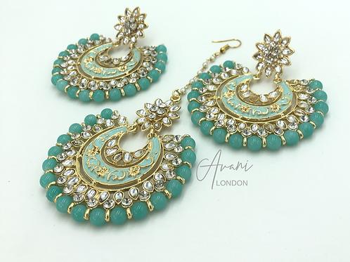 Kundan Chandbali Earring and Tikka Set - Aqua