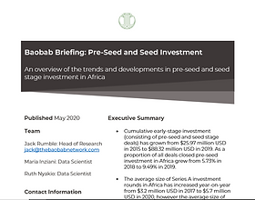 Seed and Pre Seed Investments in Africa