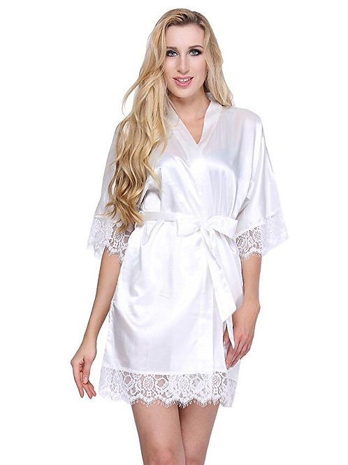 Sexy Wedding Dressing Gown Short Satin  Robe Lace Silk Kimono