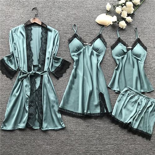 Plus Size  Pajamas Sets Satin Sleepwear Silk 4 Pieces Nightwear