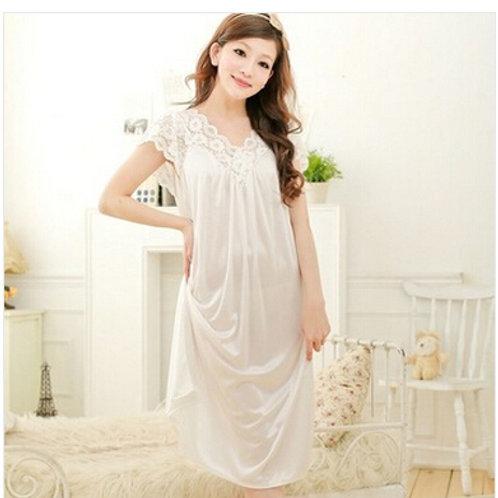 Women White Lace Sexy Nightdress Girls Plus Size