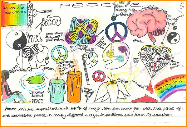 Student drawing peace