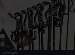 stock-photo-metal-tool-fireplace-with-tw