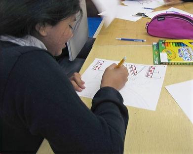 Sathya Sai School sudent working