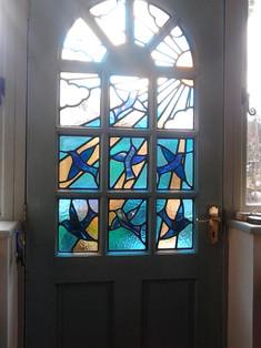 Blue bird door.