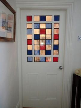 Checkered front door.