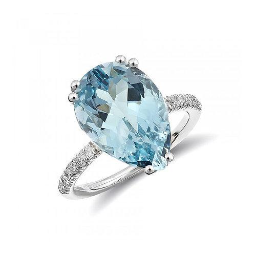 14k White Gold 5.73ct TGW Natural Aquamarine and White Diamond Engagement Ring