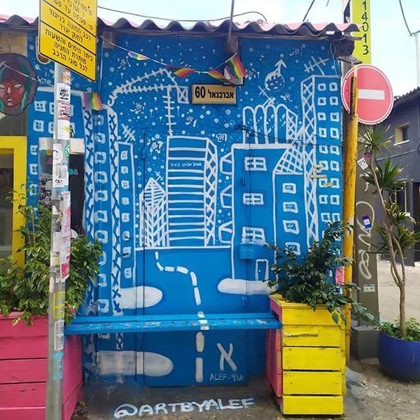 New #ALEF #streetart #blueandwhite #mura
