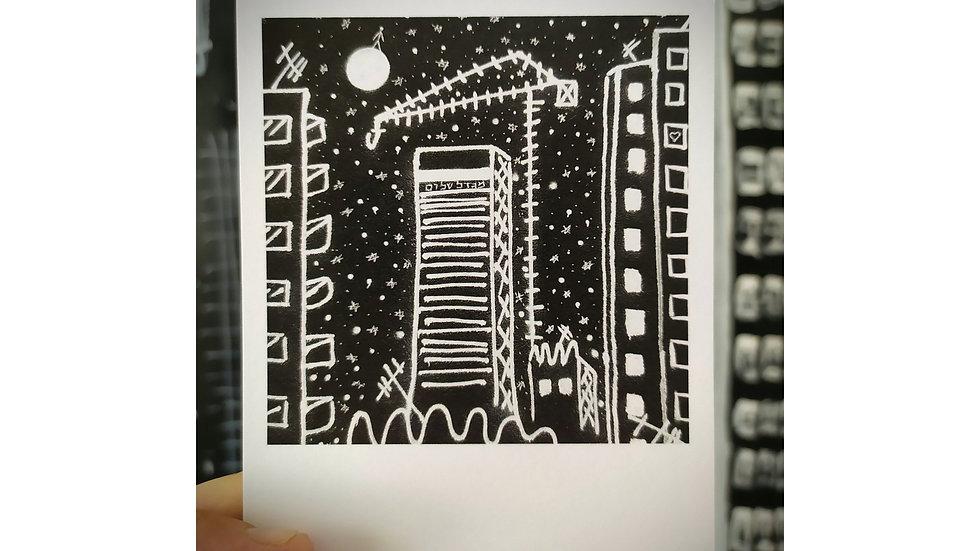 "Alef ""Black and White TLV"" Mural Postcard 10.5x12.5cm"