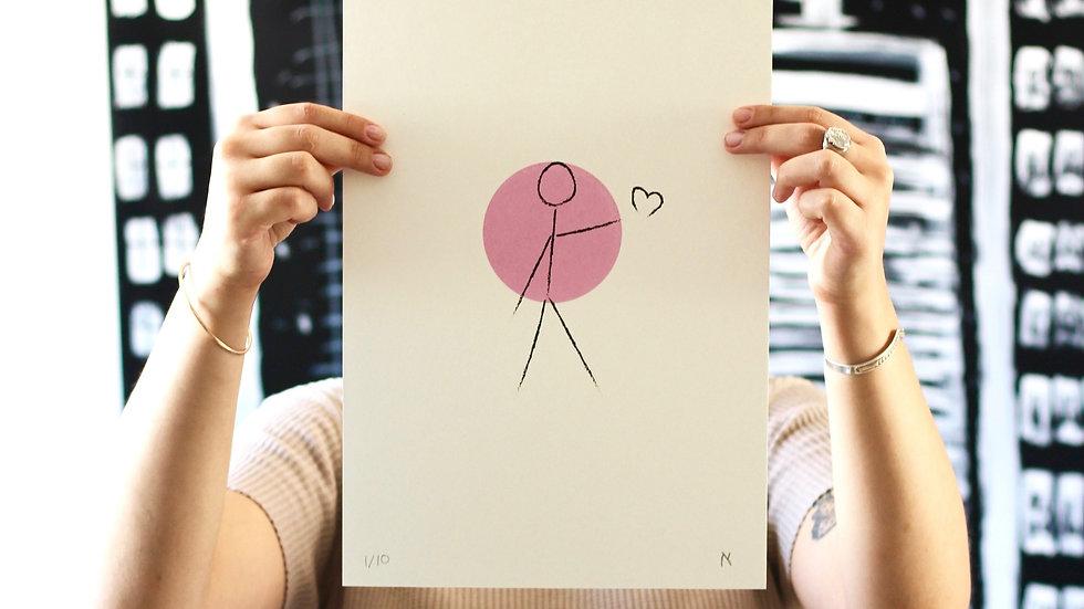 "Alef ""Spread Love"" (35x25cm) silkscreen print, edition of 10 with AR activation"