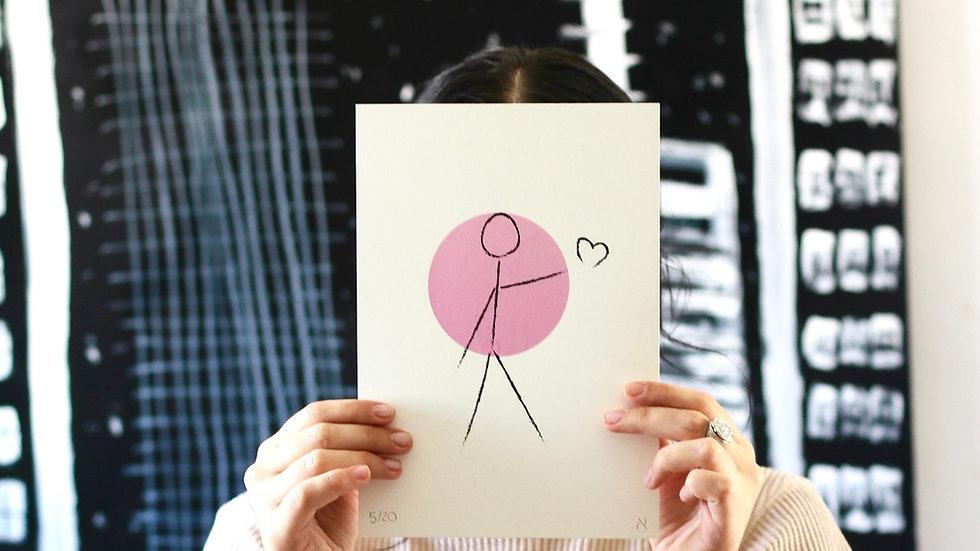 "Alef ""Spread Love"" (25x17.5cm) silkscreen print edition of 20 with AR activation"