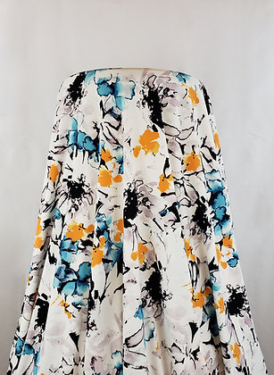 White/Black/Orange/Aqua Blue Watercolor Floral