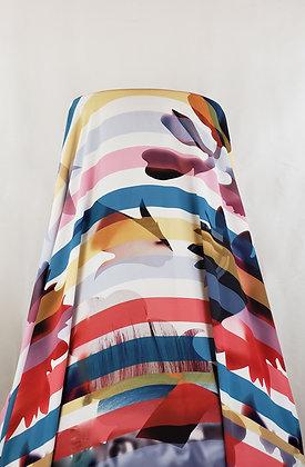 White/Multi-Color Large Floral Digital Print & Stripe