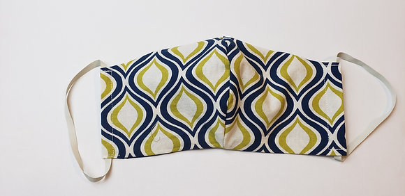 Navy and Lime Green Face Mask