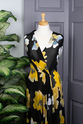 Large Yellow Floral Design on Black Chiffon