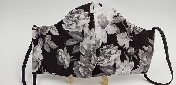Black/White Floral Face Mask