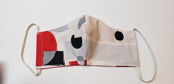 Black Red & White Abstract Face Mask