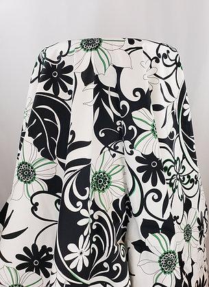 Black/White/Green Abstract Print Poly/Lycra Blend