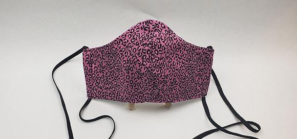 Pink & Black Leopard Print Face Mask