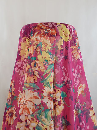 Pink/Pale Orange/Mint Floral Print Chiffon